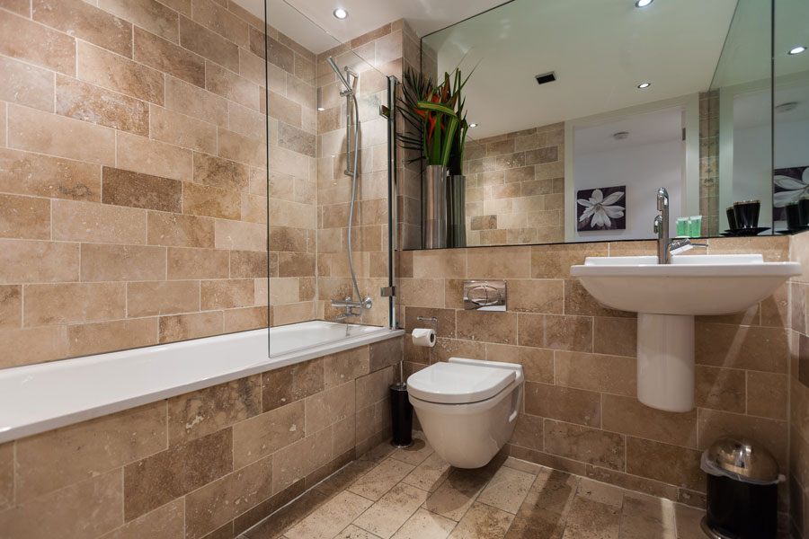 bathroom area in a kspace serviced apartment in sheffield
