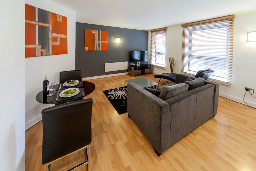 1 bedroom apt.  Living area in a KSpace Serviced Apartment Sheffield WestOne 1 Bed Apartments